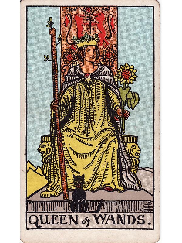 Tarotkaart - Staven Koningin